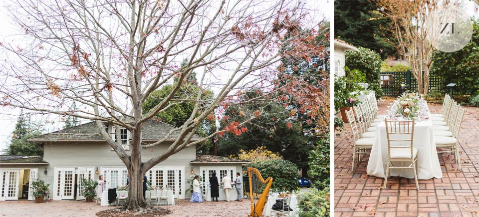 wide shots showing the outdoor terrace area of the gamble garden in palo alto california