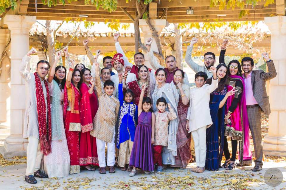 big group photo of indian wedding at The Club at Ruby Hill