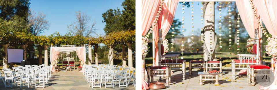 ceremony set up for an indian wedding with mandap at the Club at Ruby Hill - photos by Zoe Larkin Photography