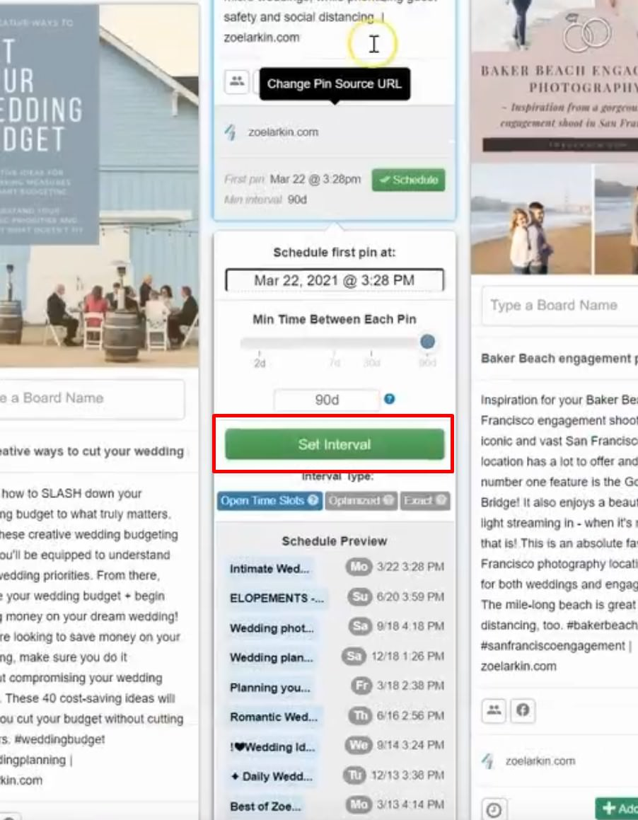 how to set an interval on your scheduled pinterest pin with tailwind
