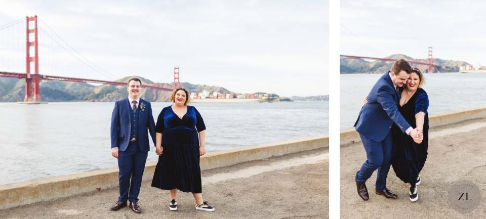 a fun-loving couple who eloped and opted for wedding photos at Crissy Field