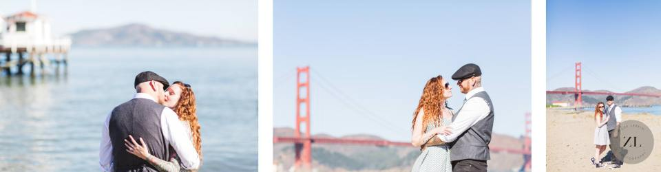Example of a photo session with a San Francisco wedding couple with the sun overhead in the middle of the day