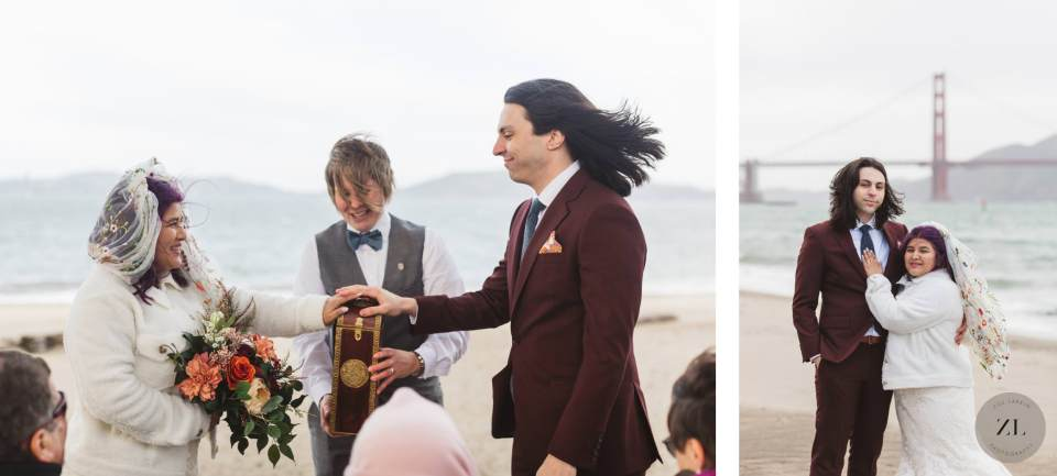 couple exchanging wedding vows at Cypress Grove on Crissy Field East Beach, San Francisco