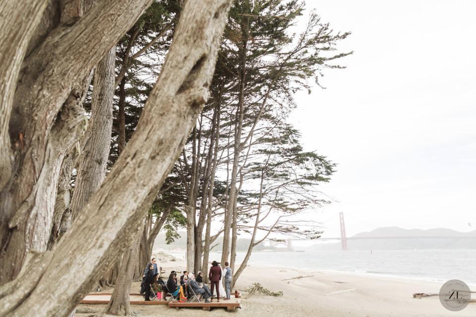 crissy beach intimate wedding photos with golden gate bridge in background