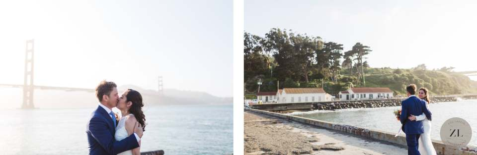 wedding couple overlooking the golden gate bridge at Crissy Field in San Francisco