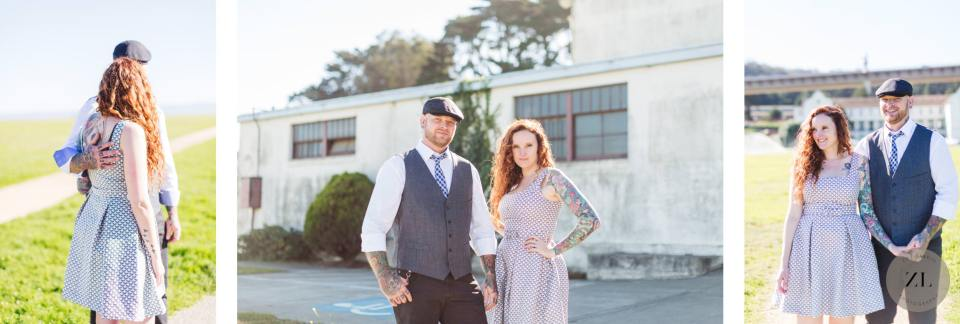 hipster tattooed wedding couple posing at their Crissy Field wedding in San Francisco