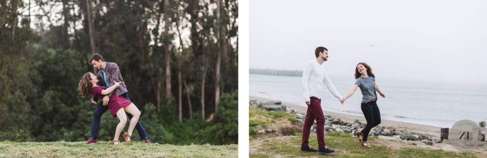 examples of the diverse scenery for engagement photo shoots at Crissy Field on the Northern edge of San Francisco