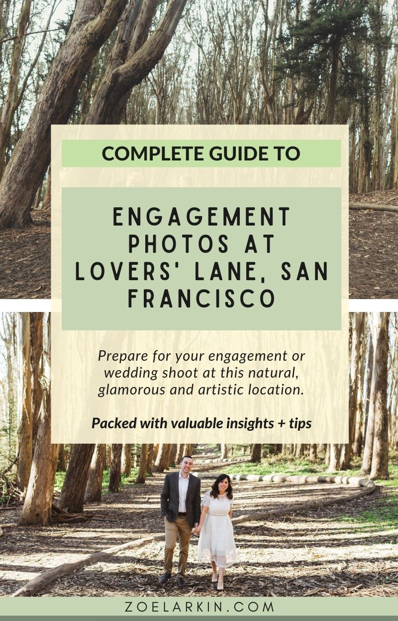 In this detailed blog post, I showcase my best photos of engagement session and weddings at Lovers' Lane in San Francisco's Presidio! I aim to provide as much helpful information as I can that helps you plan your shoot. As an experienced San Francisco photographer, I let you in on the best route for your photos at Lovers' Lane, what the Wood Line is, where to park and the best time of day for photos here. Grab inspiration for your Lovers' Lane shoot! #sanfranciscoengagement | zoelarkin.com