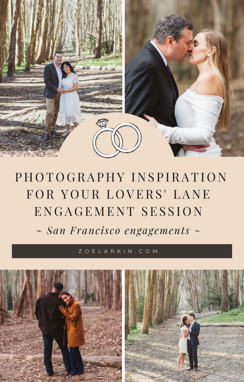 Want to know how to get the BEST from your engagement session at Lovers' Lane, Presidio San Francisco? Whether you're planning an elopement or wedding photos at Lovers' Lane, I give you photo inspiration and also valuable insights + tips so you know exactly where Andy Goldsworthy's Wood Line is, where to park, what to avoid and lots more helpful tips. If you need a San Francisco engagement photographer, check out the photos and let's plan some MAGIC! #sanfranciscoengagement | zoelarkin.com