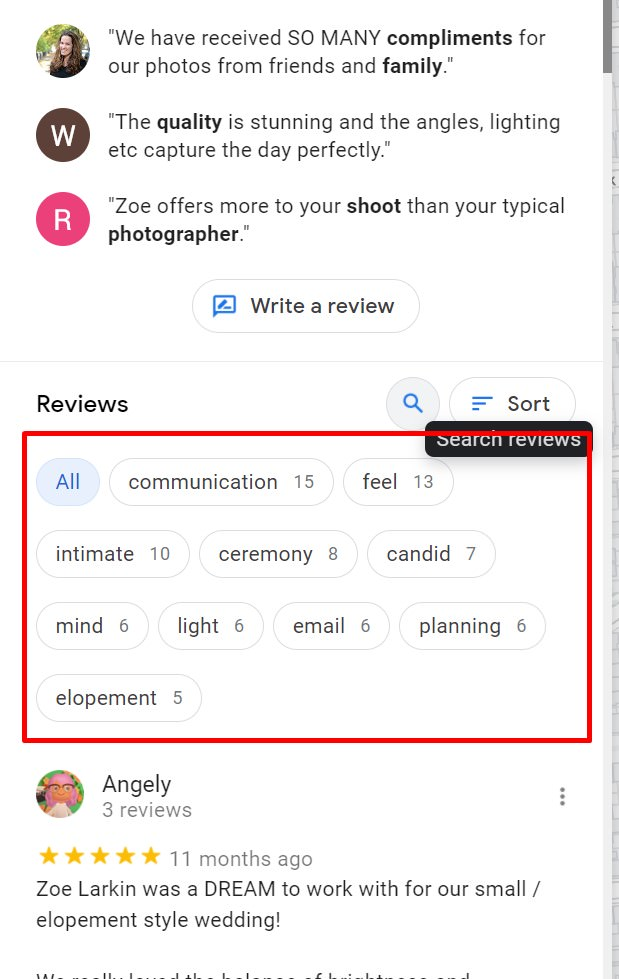 example screenshot showing how Google picks up keywords from reviews business