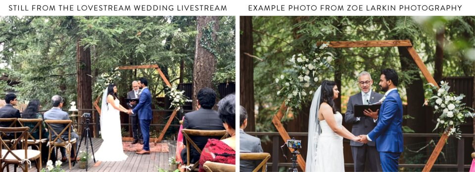 side by side shots from the wedding livestream from lovestream, alongside professional photographer image