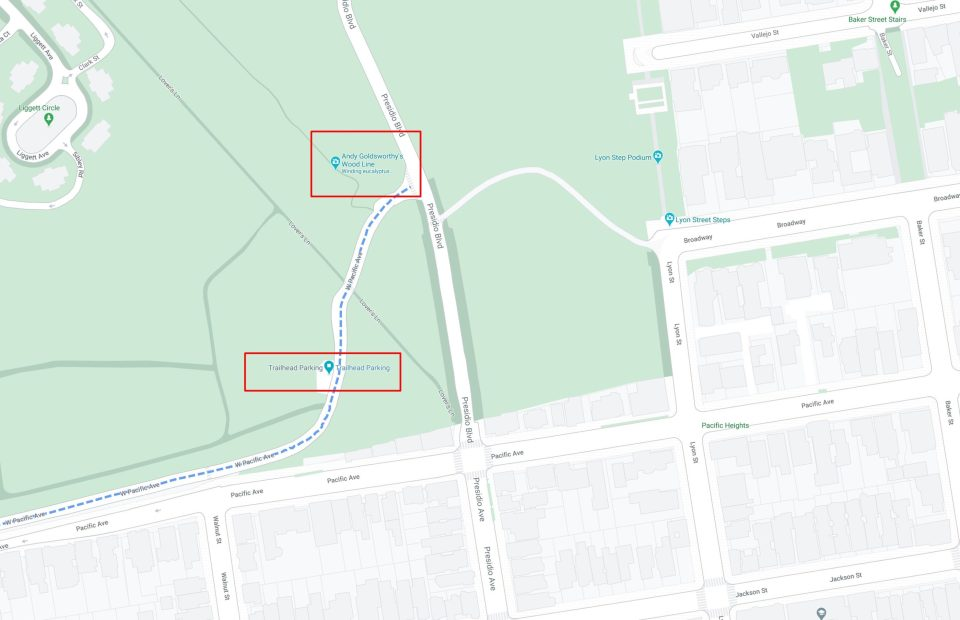 A screenshot of a map showing the best place to park for an engagement session at lovers' lane - andy goldsworthy's wood line in SF