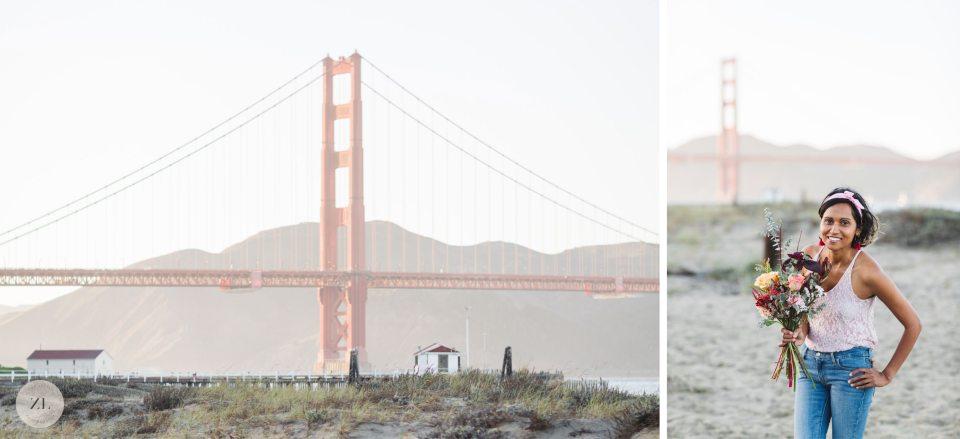 Zoe Larkin of Zoe Larkin Photography at Crissy Field with the Golden Gate Bridge in brackground