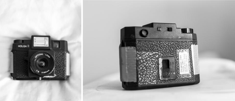 photo of a Holga 120FN film camera and gallery of sample wedding images