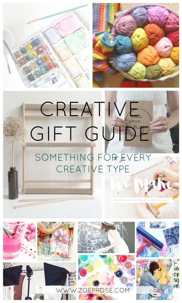 Stuck for a gift idea for your creative friend or family member? Look no further- gift guide with ideas for every type of creative. Holiday gift guide from Zoeprose - click through to see all the ideas!