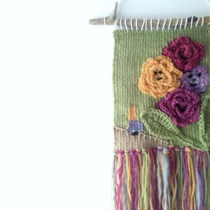 Alice weaving  LIterary wall hanging inspired by Alice in Wonderland and the talking flowers, from the classic childrens book Alice through the Looking glass. Great book themed decor for a bookworm gift or a child's themed room.