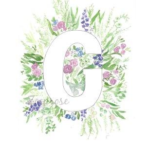Letter G floral alphabet print | Zoeprose