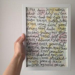 Who God is handlettered art print | Zoeprose