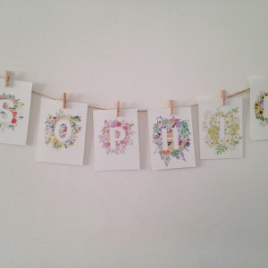 Custom floral name garland | Zoeprose floral alphabet perfect for a nursery