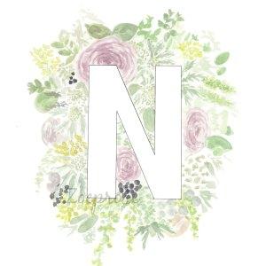 N Floral Alphabet Letter Print | Zoeprose