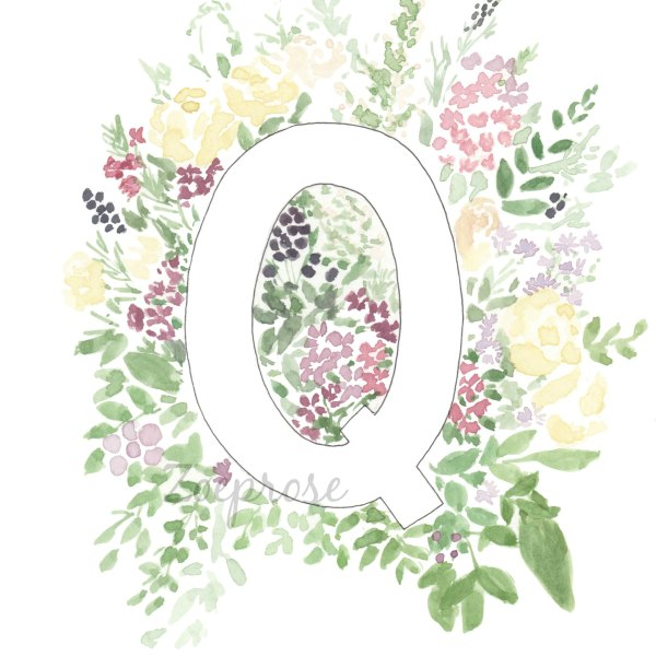 Q alphabet archival print A4 | Zoeprose