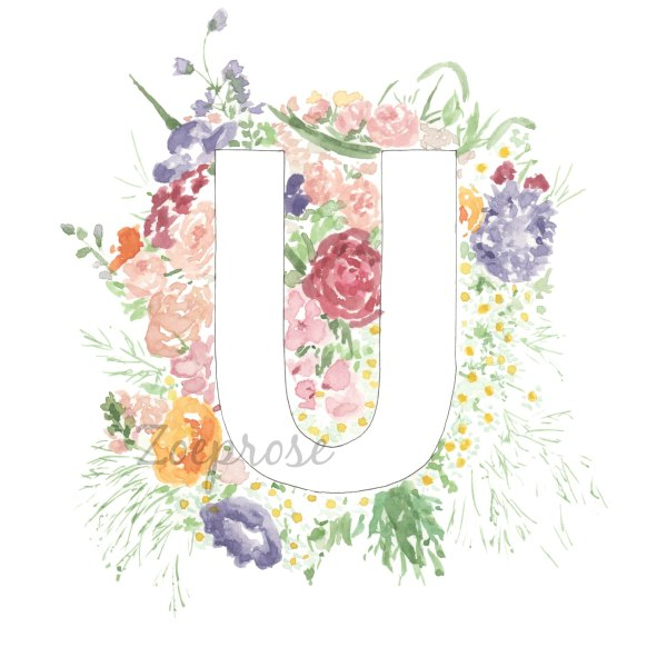 A stunning piece for a wedding present or little one's room! U floral alphabet letter print | Zoeprose