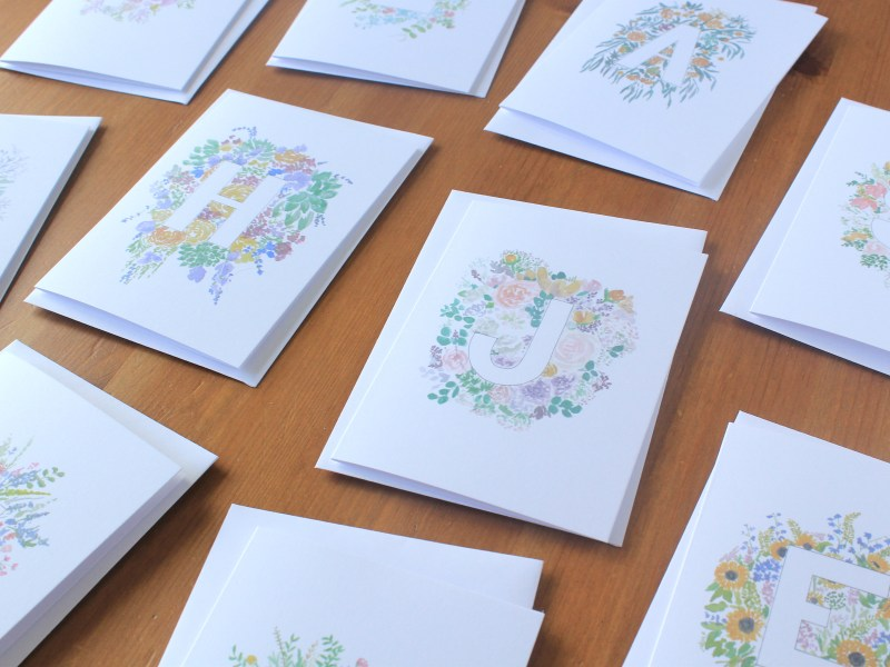 Floral Letter Cards – Initial Alphabet Greeting Cards