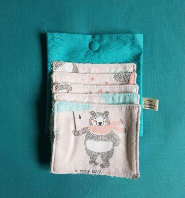 5 lingettes bébés et sa pochette