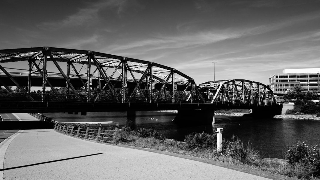 The Langevin Bridge overtop of the RiverWalk.
