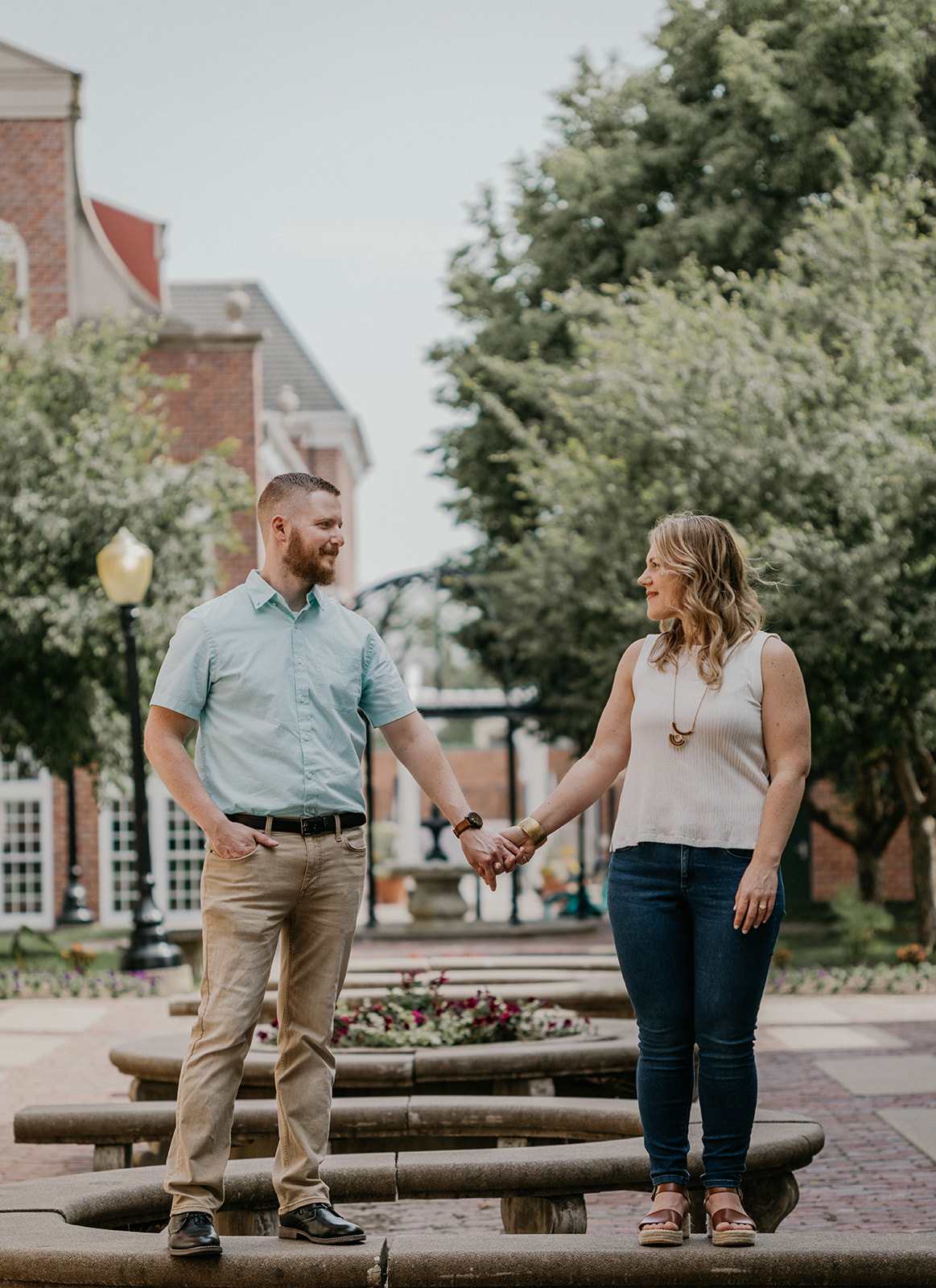 spring engagement session in downtown pella