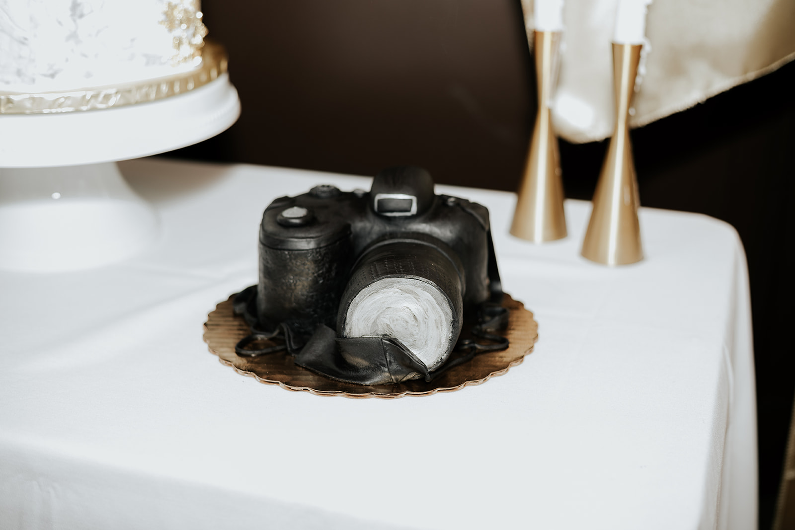 Intimate Kansas City Wedding Loose Park camera cake