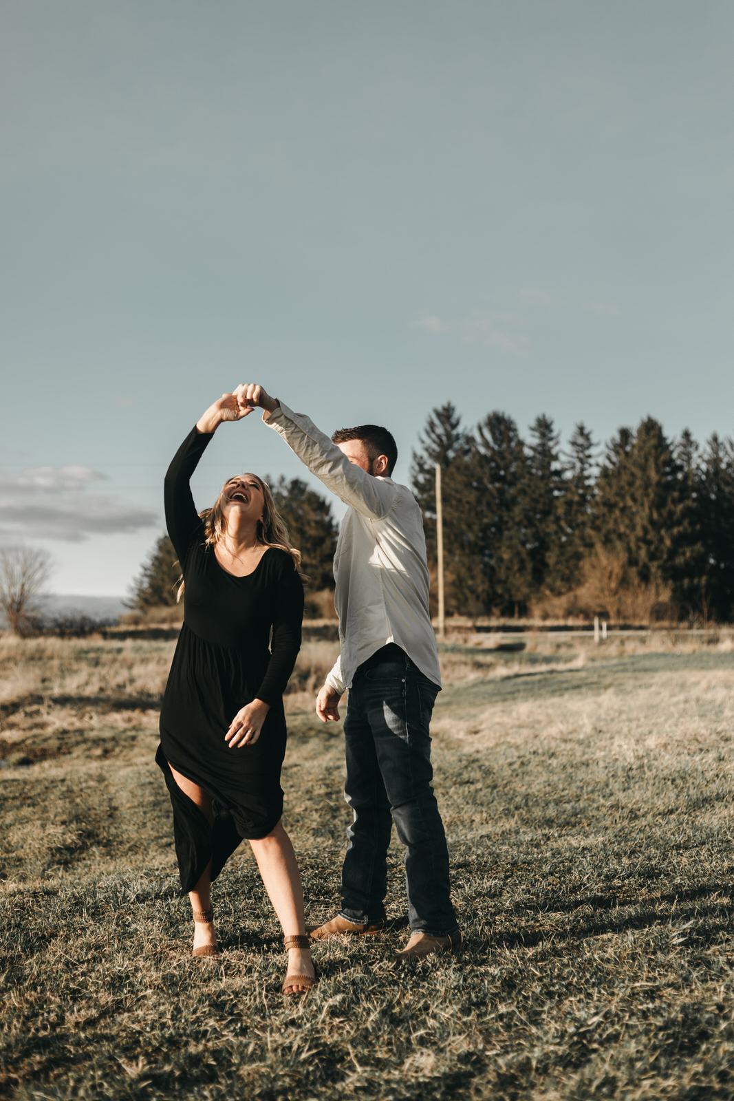 Lauren & Tom Adventurous Outdoor Engagement Family Farm Dancing