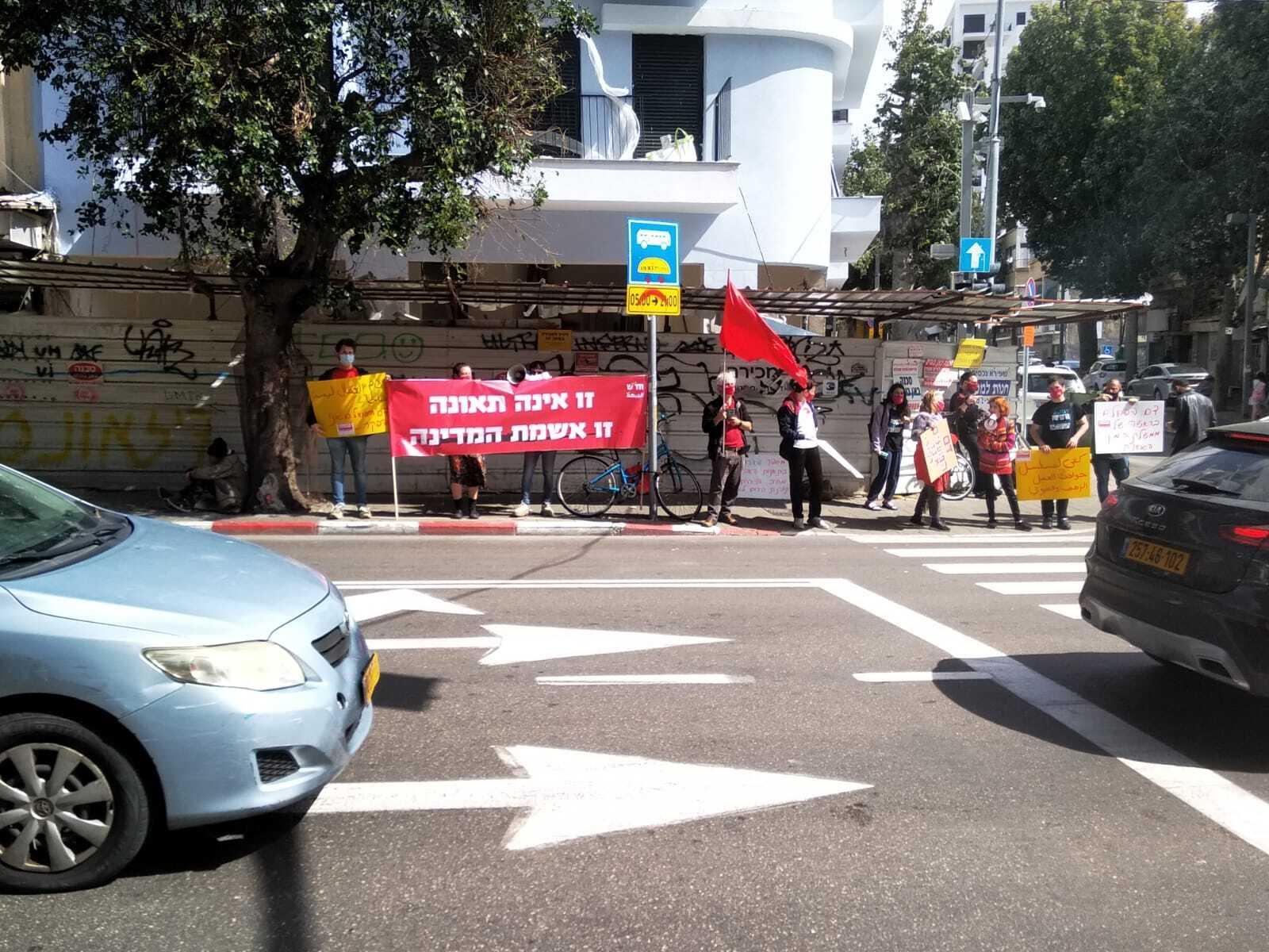"""משמרת מחאה בת""""א נגד ההפקרות וההזנחה בענף הבניין"""