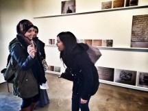 Lina, Rakia and Munmun, Arab American Lit students at our trip to Alexander Bonin Gallery featuring Emily Jacir's Exhibit.