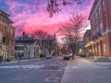 Sunset after leaving Yale Library