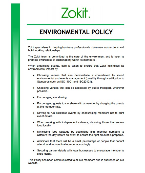 Zokit Environmental Policy
