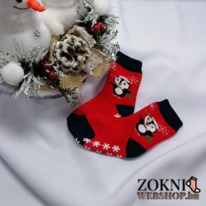 mikulásos baby vastag zokni pingvin piros