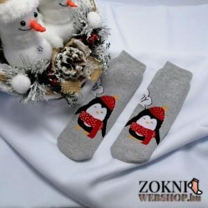 mikulásos gyerek vastag zokni pingvines szürke