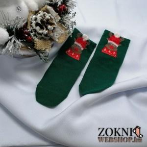 mikulásos gyerek zokni-rénszarvasos-zöld