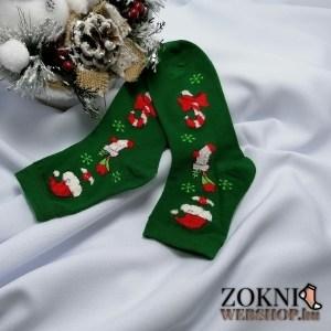 mikulásos női zokni télapó sapka zöld