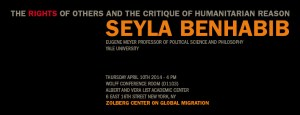 Seyla Benhabib April 10th, 4 pm