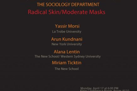 Radical Skin/Moderate Masks: Monday, April 17 at 6 PM; Klein Conference Room, Room A510