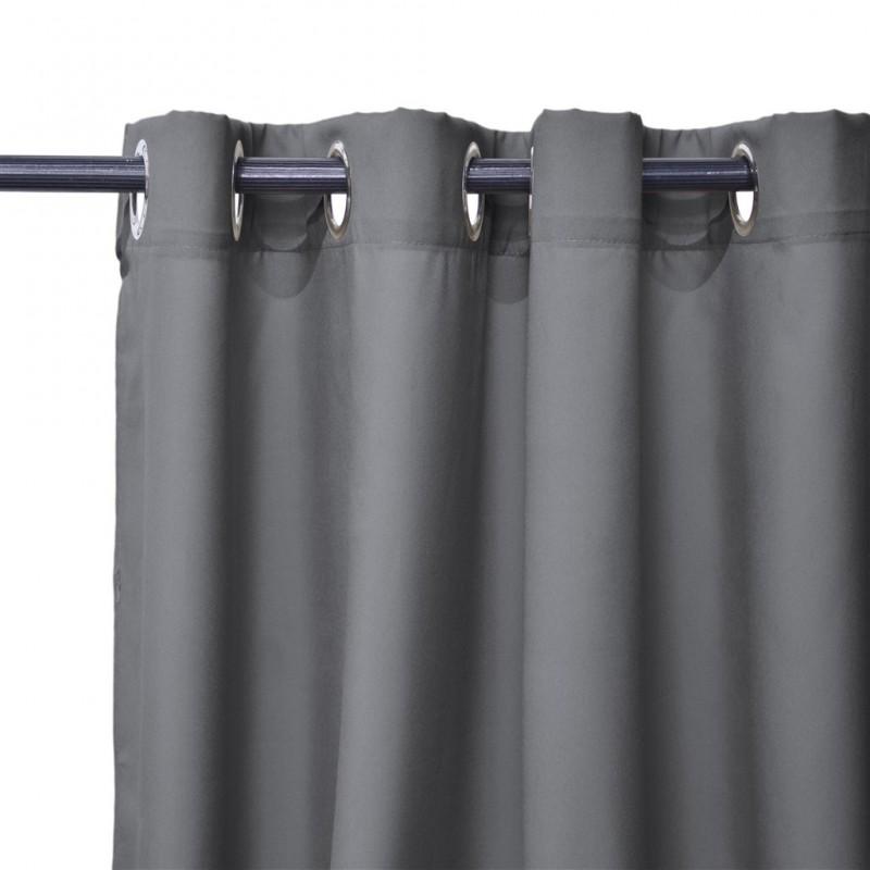 lot de 2 rideaux cory a œillets gris anthracite 140x240cm