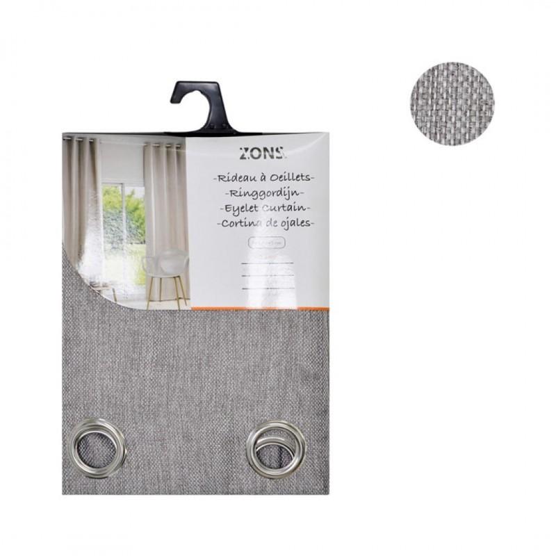 lot de 2 rideaux a œillets occultant gris 140x240cm rice linen fabric