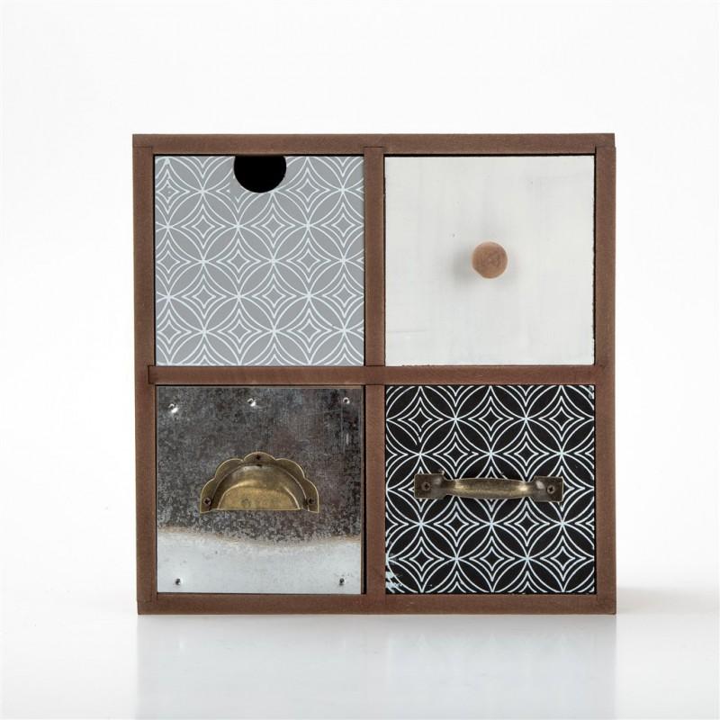 petit meuble decoratif en bois 22 5x10cm 2 couleurs gris