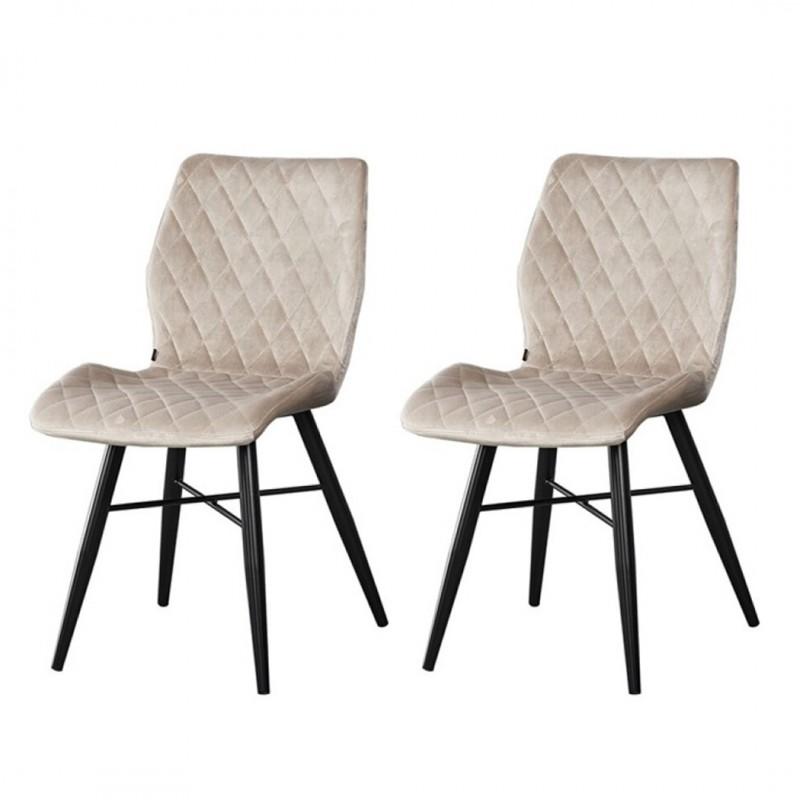 lot de 2 chaises de salle a manger capitonnees couleur taupe collection dom