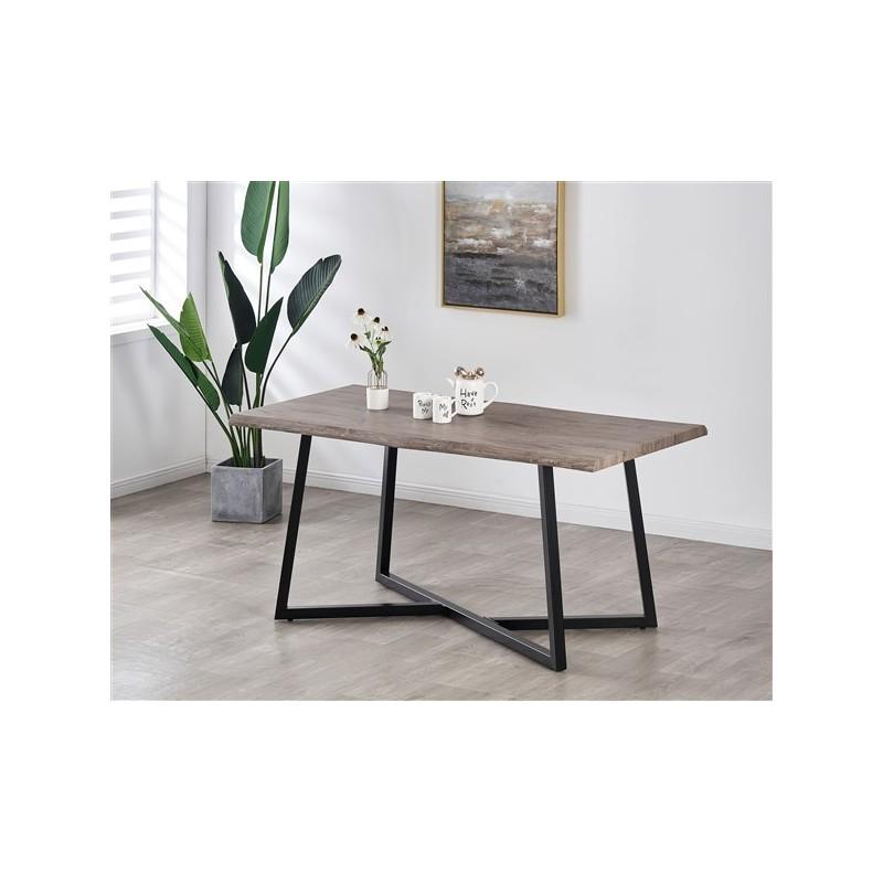 table a manger 6 personnes 160cm plateau effet bois patine gris