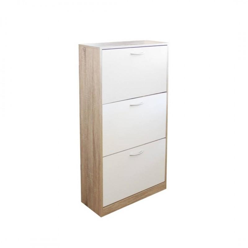 meuble a chaussures chene blanc brillant tiarala blanc bois 60xp24xh117cm