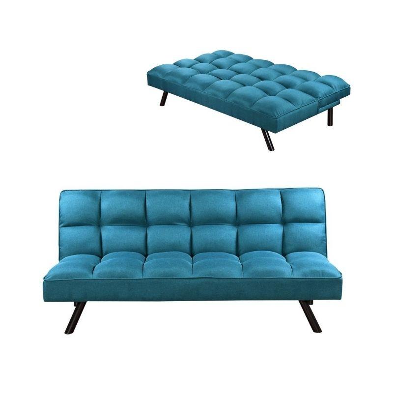 canape convertible en tissu 3 places assises lit 2 places couleur bleu