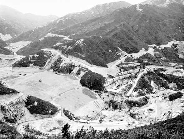 Constructing the Shek Pik Reservoir, 1961